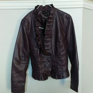 NWT bagatelle faux leather jacket w/ruffle detail